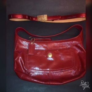 Authentic cranberry red patent leather hobo.